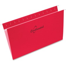 """Continental Legal Recycled Hanging Folder - 8 1/2"""" x 14"""" - Red - 60% - 25 / Box"""