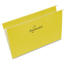 """Continental Legal Recycled Hanging Folder - 8 1/2"""" x 14"""" - Yellow - 60% - 25 / Box"""