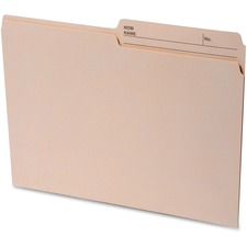 """Continental 1/2 Tab Cut Letter Recycled Top Tab File Folder - 8 1/2"""" x 11"""" - Top Tab Location - Assorted Position Tab Position - Manila - 100% - 100 / Box"""