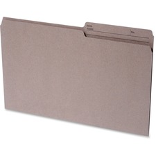 "Continental 1/2 Tab Cut Legal Recycled Top Tab File Folder - 8 1/2"" x 14"" - Top Tab Location - Assorted Position Tab Position - Kraft - 100% Recycled - 100 / Box"