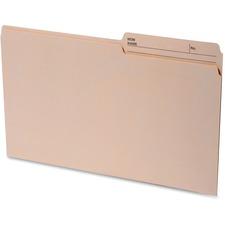 "Continental 1/2 Tab Cut Legal Recycled Top Tab File Folder - 8 1/2"" x 14"" - Top Tab Location - Assorted Position Tab Position - Manila - 100% - 100 / Box"