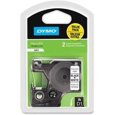 """Dymo D1 1/2"""" Tape Label Cassette - 1/2"""" Width x 23 ft Length - Black, White - 2 / Pack"""