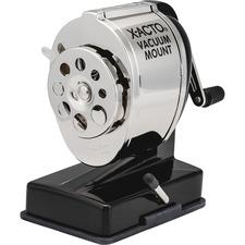 X-Acto Vacuum Mount Manual Pencil Sharpener - 8 Hole(s) - Helical - Metal - Black, Metal - 1 Each