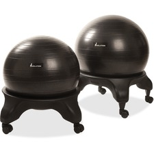 "Posture Perfect Solutions Evolution Ball Chair Kit - Black - Vinyl - 21"" Width x 21"" Depth x 7"" Height"