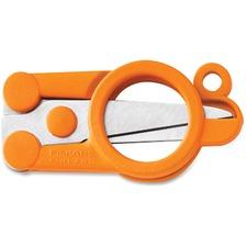 """Fiskars Folding Scissors - 4"""" (101.60 mm) Overall Length - Left/Right - Stainless Steel - Straight Tip - Orange - 1 Each"""