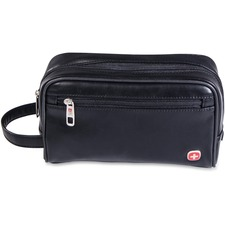 "Holiday Carrying Case Toiletries - Black - Water Proof Pocket - Leatherette, Faux Leather, Polyurethane - Handle - 6"" (152.40 mm) Height x 10"" (254 mm) Width x 3"" (76.20 mm) Depth"