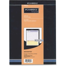 """Cambridge Cambridge Writing Pads - 70 Sheets - 20 lb Basis Weight - 8 1/2"""" x 11"""" - White Paper - Perforated, Sturdy, Stiff-back - Recycled - 1Each"""
