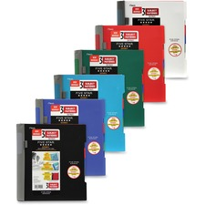 """Five Star 3 Subject Notebook - 300 Sheets - Spiral - College Ruled - 11"""" (279.40 mm) x 10.13"""" (257.18 mm) - Assorted Cover - 1Each"""
