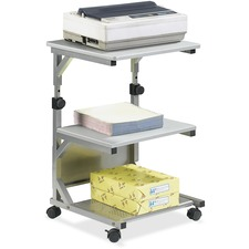 "Heartwood Compact Adjustable Height Cart - Metal, Wood - 23"" Width x 23"" Depth x 31"" Height - Gray"