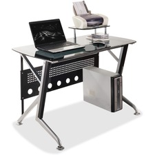 "Heartwood Sabik Computer Desk - Rectangle Top x 47.3"" Table Top Width x 23.6"" Table Top Depth - Black, Silver - Metal"