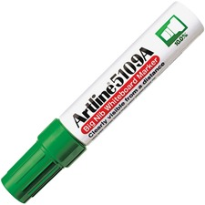 Jiffco Artline 5109A Big Nib Whiteboard Marker - Bold Marker Point - Chisel Marker Point Style - Refillable - Green - Acrylic Fiber Tip - 1 Each