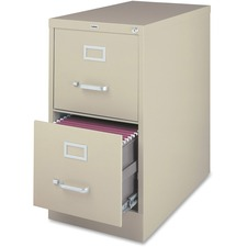 """Lorell File Cabinet - 2-Drawer - 18"""" x 25"""" x 28.4"""" - 2 x Drawer(s) for File - Legal - Vertical - Ball-bearing Suspension, Lockable, Hanging Bar, Pull Handle - Putty - Steel, Aluminum - Recycled"""