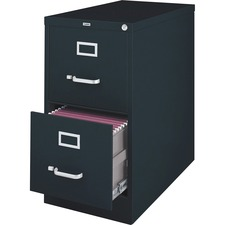 """Lorell File Cabinet - 2-Drawer - 18"""" x 25"""" x 28.4"""" - 2 x Drawer(s) for File - Legal - Vertical - Ball-bearing Suspension, Lockable, Hanging Bar, Pull Handle - Black - Steel, Aluminum - Recycled"""