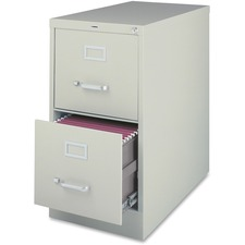 """Lorell Fortress File Cabinet - 2-Drawer - 18"""" x 25"""" x 28.4"""" - 2 x Drawer(s) for File - Legal - Vertical - Ball-bearing Suspension, Lockable, Hanging Bar, Pull Handle - Light Gray - Steel, Aluminum - Recycled"""