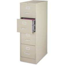 """Lorell Fortress File Cabinet - 4-Drawer - 18"""" x 25"""" x 52"""" - 4 x Drawer(s) for File - Legal - Vertical - Ball-bearing Suspension, Lockable, Hanging Bar, Pull Handle - Putty - Steel, Aluminum - Recycled"""