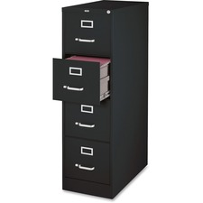 """Lorell File Cabinet - 4-Drawer - 18"""" x 25"""" x 52"""" - 4 x Drawer(s) for File - Legal - Vertical - Ball-bearing Suspension, Lockable, Hanging Bar, Pull Handle - Black - Steel, Aluminum - Recycled"""