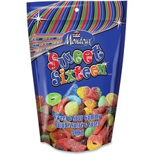 Mondoux Sweet Sixteen Sweet/Sour Gummy Candy - Assorted - Resealable Container - 1 / Pack