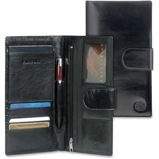 "MANCINI EQUESTRIAN-2 Carrying Case (Wallet) Passport, Credit Card, Ticket - Black - Top Grain Leather - 5"" (127 mm) Height x 4.75"" (120.65 mm) Width"