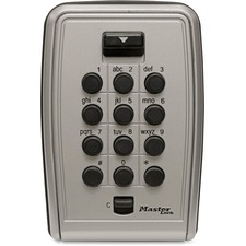 Master Master Lock Wall-Mount Push Button Lock Box - Black, Gray Door - Mechanical Key - Wall Mountable