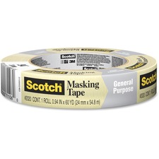 "Scotch Masking Tape for Production Painting 2020-24A, 24 mm x 55 m, 36 Per Case - 0.94"" (24 mm) Width x 60.1 yd (55 m) Length - 3"" Core - Crepe Paper - 1 Each - Tan"