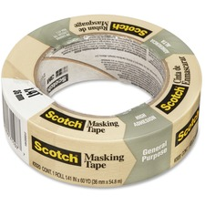 """Scotch Masking Tape for Production Painting 2020-36A, 36 mm x 55 m - 60.1 yd (55 m) Length x 1.42"""" (36 mm) Width - 3"""" Core - Crepe Paper - 1 Each - Tan"""