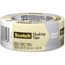 "Scotch Masking Tape - 60.1 yd (55 m) Length x 1.89"" (48 mm) Width - 3"" Core - Crepe Paper - 1 Each - Tan"