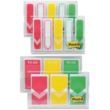 """Post-it® Arrow Flags Value Pack - 320 x Red, 200 x Yellow, 320 x Green - 0.50"""" , 1"""" - Arrow - Red, Yellow, Green, White"""