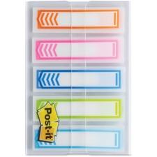 "Post-it® Write-on 1/2"" Arrow Flags - 0.50"" - Arrow - Orange, Pink, Blue, Aqua, Lime - Writable - 100 / Pack"