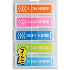 """Post-it® Sign Here 1/2"""" Arrow Flags - 0.50"""" - Arrow - """"SIGN HERE"""" - Orange, Blue, Aqua, Lime - Removable - 60 / Pack"""