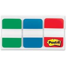 """Post-it® Filing Tabs - 1"""" Tab Height x 1.50"""" Tab Width - Green, Blue, Red Tab(s) - 66 / Pack"""