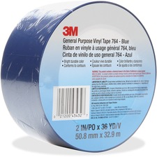 "3M General Purpose 764 Vinyl Tape - 36 yd (32.9 m) Length x 2"" (50.8 mm) Width - Vinyl, Rubber - 4 mil - Polyvinyl Chloride (PVC) Backing - 1 Each - Blue"