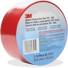 "3M General Purpose 764 Vinyl Tape - 36 yd (32.9 m) Length x 2"" (50.8 mm) Width - Vinyl - 4 mil - Polyvinyl Chloride (PVC) Backing - 1 Each - Red"