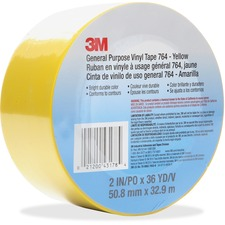 "3M General Purpose 764 Vinyl Tape - 36 yd (32.9 m) Length x 2"" (50.8 mm) Width - Vinyl - 4 mil - Polyvinyl Chloride (PVC) Backing - 1 Each - Yellow"