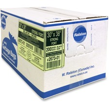 """Ralston Industrial Garbage Bags 2600 Series - EcoLogo Recycled Black - 30"""" (762 mm) Width x 38"""" (965.20 mm) Length x 0.80 mil (20 Micron) Thickness - Black - Resin - 200/Carton - Industrial, Garbage"""