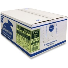 """Ralston Industrial Garbage Bags 2600 Series - EcoLogo Recycled Black - 35"""" (889 mm) Width x 50"""" (1270 mm) Length x 0.80 mil (20 Micron) Thickness - Black - Resin - 125/Carton - Industrial, Garbage"""