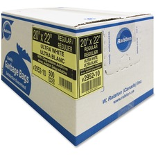 """Ralston Industrial Garbage Bags 2900 Series - Ultra - Clear and Colours - 20"""" (508 mm) Width x 22"""" (558.80 mm) Length - White - Hexene Resin - 500/Carton - Industrial, Garbage"""