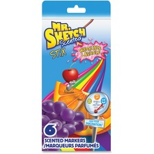 Mr. Sketch Scented Stix Washable Markers - Fine Marker Point - Chisel Marker Point Style - Assorted - 10 / Set