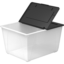 """Storex 60L Flip Top File Storage Tote - External Dimensions: 22.7"""" Length x 18.3"""" Width x 12.9""""Height - 50 lb - 60 L - Media Size Supported: Legal, Letter - Flip Top Closure - Stackable - Plastic - Clear, Black - For File, Office Supplies, Decoration Equipment, Tool - 1 Each"""