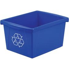 "Storex Letter Size Paper Recycle Bin - 15.14 L Capacity - Rectangular - Heavy Duty, Crack Resistant, Dent Resistant - 8"" Height x 15"" Width x 11"" Depth - Polypropylene - Blue - 1 Each"
