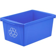 "Storex Legal Size Paper Recycle Bin - 20.82 L Capacity - Rectangular - Heavy Duty, Crack Resistant, Dent Resistant - 12"" Height x 18"" Width x 8.5"" Depth - Polypropylene - Blue - 1 Each"