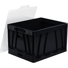 Storex Hanging File Collapsible Storage Crate - Media Size Supported: Letter, Legal - Lid Lock Closure - Stackable - Plastic - Black - For File, File Folder - 1 Each