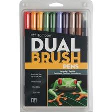Tombow Dual Brush Art Pen 10-piece Set - Secondary Colours - Fine Marker Point - Brush Marker Point Style - Periwinkle, Sand, Orange, Saddle Brown, Dark Plum, Dark Jade, Dark Olive, Chrome Orange, Warm Red Water Based Ink - Nylon Tip - 10 / Set