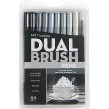 Tombow Dual Brush Art Pen 10-piece Set - Grayscale Colours - Fine Marker Point - Brush Marker Point Style - Assorted Water Based Ink - Nylon Tip - 10 / Set