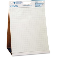 """TOPS Flip Chart Pad - 30 Sheets - Grid Ruled - 23"""" (584.20 mm) x 20"""" (508 mm) - White Paper - Self-stick, Built-in Carry Handle - 2 / Carton"""