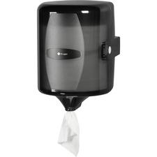 Kruger Centre Pull Towel Dispenser - Center Pull - Smoke, Black - Translucent, Refillable