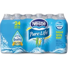 Nestle Pure Life Natural Spring Water - Ready-to-Drink - 500 mL - 226.8 g - Bottle - 24 / Carton