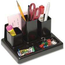 "Victor Desktop Organizer - 5 Compartment(s) - 5.3"" Height x 6.8"" Width x 4.2"" Depth - Desktop - Sturdy - Black - Plastic - 1 Each"