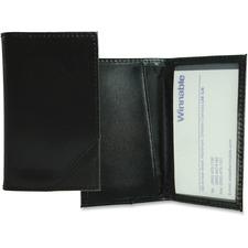 Winnable Leather Bi-fold Card Holder - Black Genuine Leather Cover