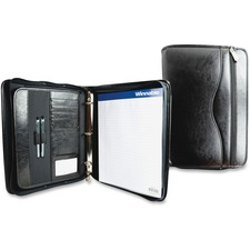 """Winnable Leather Executive Round Ring Binder - 1"""" Binder Capacity - Letter - 8 1/2"""" x 11"""" Sheet Size - 1"""" Spine Width - 3 x Round Ring Fastener(s) - Internal, External Pocket(s) - Leather - Black - Expandable Pocket, Pen Loop, Storage Pocket, Notepad, Zipper Closure - 1 Each"""