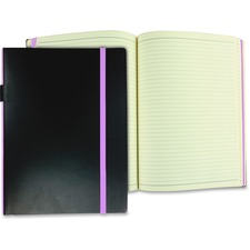 """Winnable Hard Cover Journal - 176 Pages - Ruled - 9.50"""" (241.30 mm) x 7.50"""" (190.50 mm) - Cream Paper - Black, Purple Cover - Hard Cover, Elastic Closure, Expandable Pocket, Card Slot, Ribbon Marker - 1Each"""